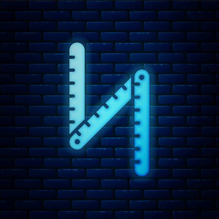 Glowing neon Folding ruler icon isolated on brick wall background. Vector Illustration