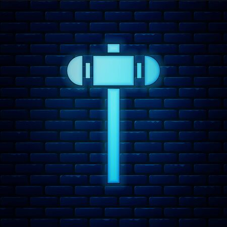Glowing neon Sledgehammer icon isolated on brick wall background. Vector Illustration