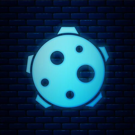 Glowing neon Planet icon isolated on brick wall background. Vector Illustration
