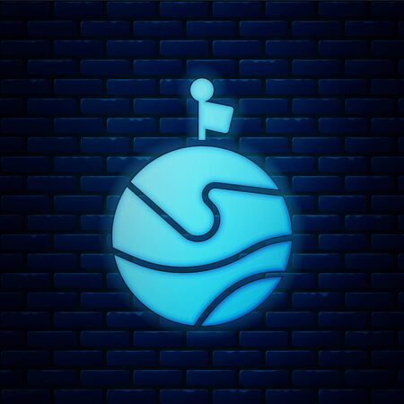 Glowing neon Moon with flag icon isolated on brick wall background. Vector Illustration 版權商用圖片 - 146525734