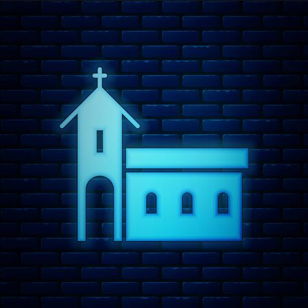Glowing neon Church building icon isolated on brick wall background. Christian Church. Religion of church. Vector Illustration