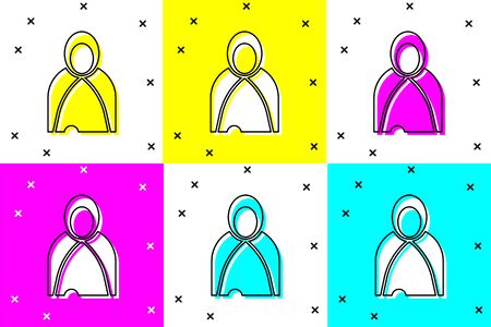 Set Mantle, cloak, cape icon isolated on color background. Magic cloak of mage, wizard and witch for halloween design. Vector Illustration