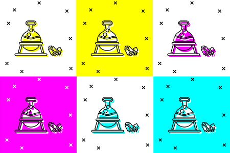 Set Witch cauldron and magic stone icon isolated on color background. Vector Illustration