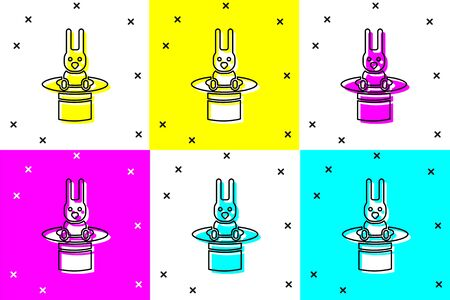 Set Magician hat and rabbit icon isolated on color background. Magic trick. Mystery entertainment concept. Vector Illustration Иллюстрация