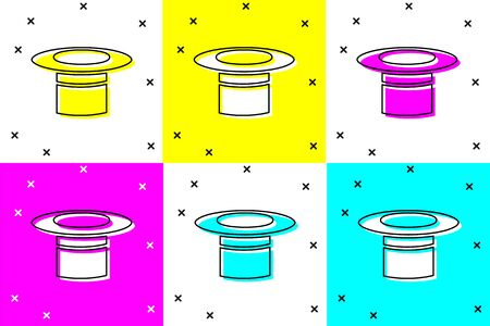 Set Magician hat icon isolated on color background. Magic trick. Mystery entertainment concept. Vector Illustration