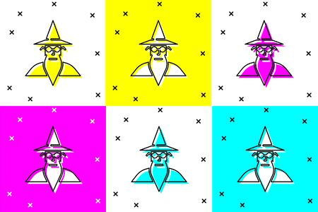 Set Wizard warlock icon isolated on color background. Vector Illustration