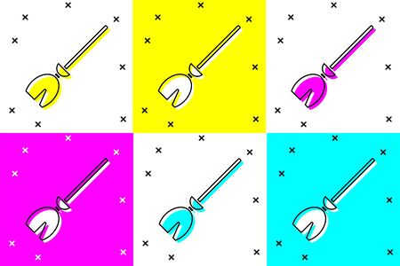 Set Witches broom icon isolated on color background. Happy Halloween party. Vector Illustration