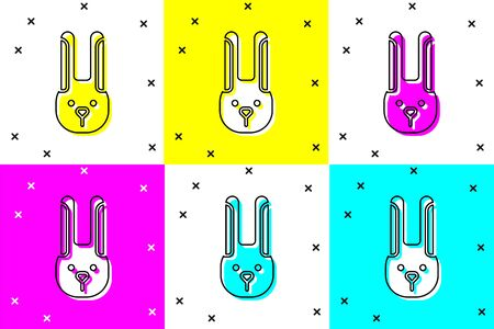 Set Rabbit with ears icon isolated on color background. Magic trick. Mystery entertainment concept. Vector Illustration