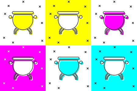 Set Witch cauldron icon isolated on color background. Happy Halloween party. Vector Illustration