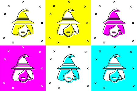 Set Witch icon isolated on color background. Happy Halloween party. Vector Illustration