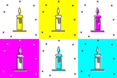 Set Burning candle in candlestick icon isolated on color background. Cylindrical candle stick with burning flame. Vector Illustration