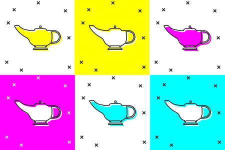 Set Magic lamp or Aladdin lamp icon isolated on color background. Spiritual lamp for wish. Vector Illustration