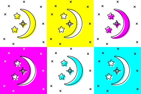 Set Moon and stars icon isolated on color background. Vector Illustration