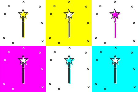 Set Magic wand icon isolated on color background. Star shape magic accessory. Magical power. Vector Illustration