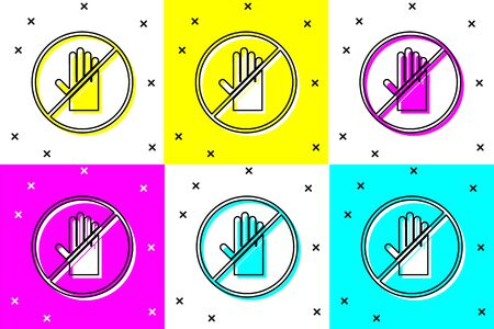 Set No handshake icon isolated on color background. No handshake for virus prevention concept. Bacteria when shaking hands. Vector Illustration