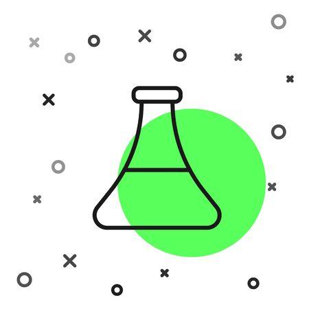 Black line Oil petrol test tube icon isolated on white background. Vector Illustration