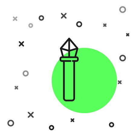 Black line Magic staff icon isolated on white background. Magic wand, scepter, stick, rod. Vector Illustration