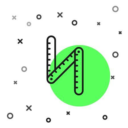 Black line Folding ruler icon isolated on white background. Vector Illustration