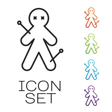 Black line Voodoo doll icon isolated on white background. Set icons colorful. Vector Illustration