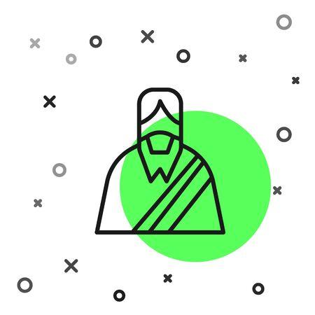 Black line Jesus Christ icon isolated on white background. Vector Illustration
