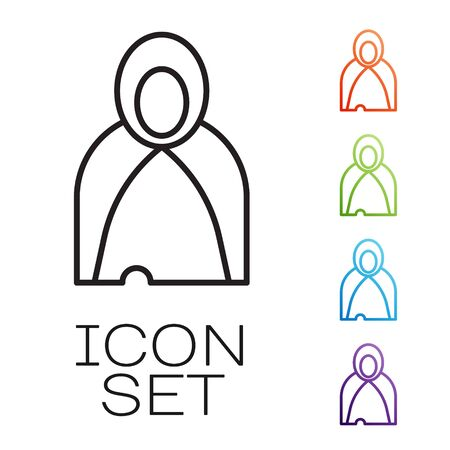 Black line Mantle, cloak, cape icon isolated on white background. Magic cloak of mage, wizard and witch for halloween design. Set icons colorful. Vector Illustration