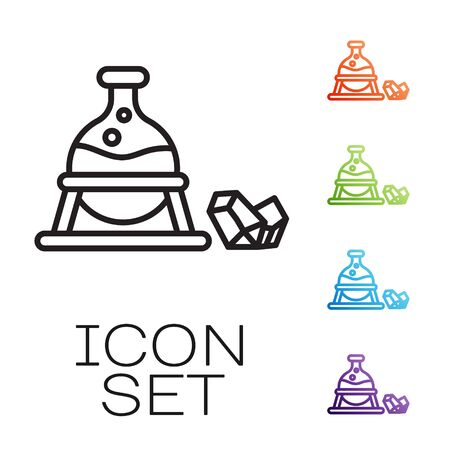 Black line Witch cauldron and magic stone icon isolated on white background. Set icons colorful. Vector Illustration
