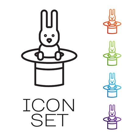 Black line Magician hat and rabbit icon isolated on white background. Magic trick. Mystery entertainment concept. Set icons colorful. Vector Illustration