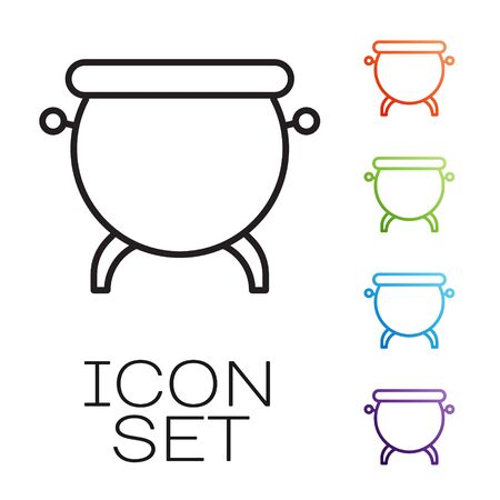 Black line Witch cauldron icon isolated on white background. Happy Halloween party. Set icons colorful. Vector Illustration