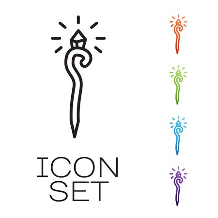 Black line Magic staff icon isolated on white background. Magic wand, scepter, stick, rod. Set icons colorful. Vector Illustration