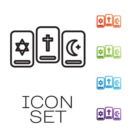 Black line Three tarot cards icon isolated on white background. Magic occult set of tarot cards. Set icons colorful. Vector Illustration