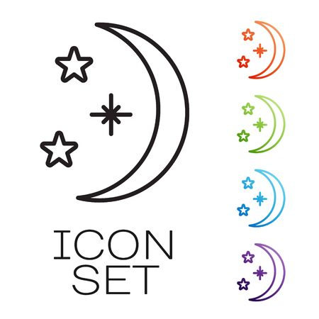 Black line Moon and stars icon isolated on white background. Set icons colorful. Vector Illustration 向量圖像