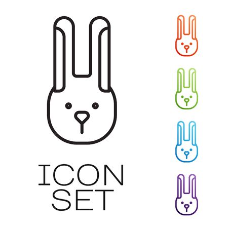 Black line Rabbit with ears icon isolated on white background. Magic trick. Mystery entertainment concept. Set icons colorful. Vector Illustration