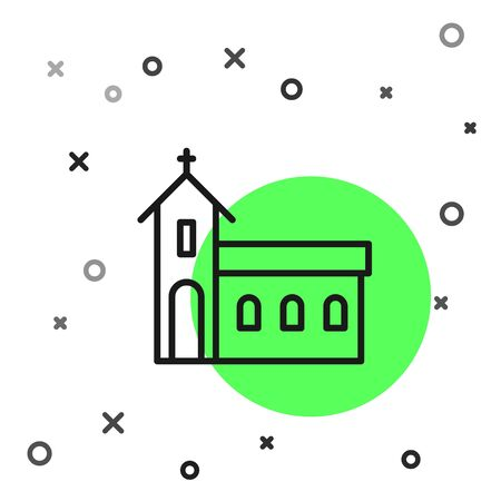 Black line Church building icon isolated on white background. Christian Church. Religion of church. Vector Illustration
