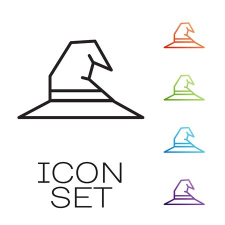 Black line Witch hat icon isolated on white background. Happy Halloween party. Set icons colorful. Vector Illustration