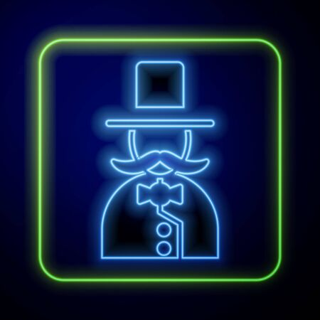 Glowing neon Magician icon isolated on blue background. Vector Illustration Иллюстрация