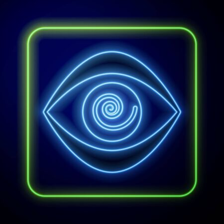 Glowing neon Hypnosis icon isolated on blue background. Human eye with spiral hypnotic iris. Vector Illustration