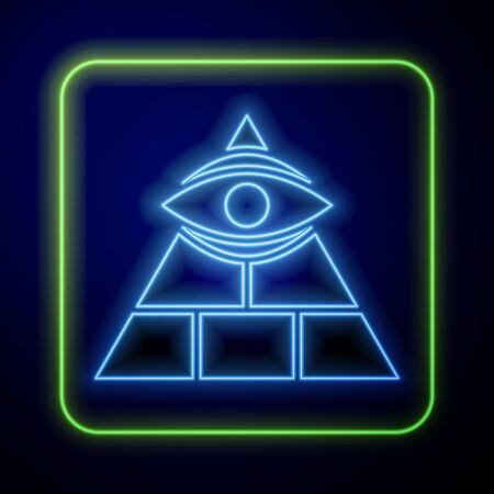 Glowing neon Masons symbol All-seeing eye of God icon isolated on blue background. The eye of Providence in the triangle