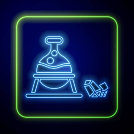 Glowing neon Witch cauldron and magic stone icon isolated on blue background. Vector Illustration Иллюстрация