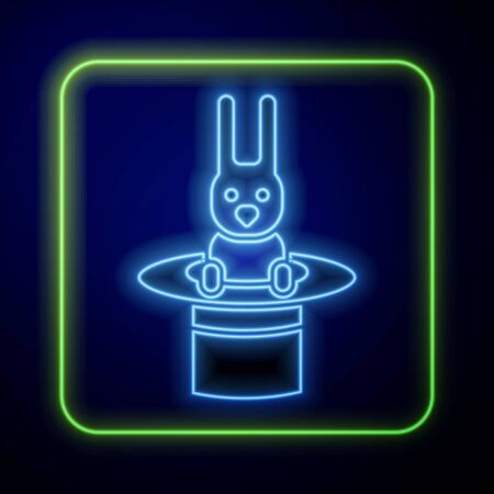 Glowing neon Magician hat and rabbit icon isolated on blue background. Magic trick. Mystery entertainment concept. Vector Illustration Иллюстрация