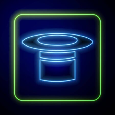 Glowing neon Magician hat icon isolated on blue background. Magic trick. Mystery entertainment concept. Vector Illustration