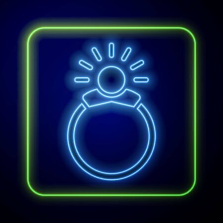 Glowing neon Fantasy magic stone ring with gem icon isolated on blue background. Vector Illustration