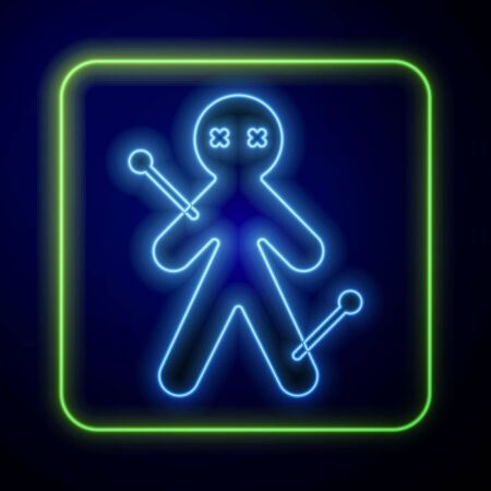 Glowing neon Voodoo doll icon isolated on blue background. Vector Illustration Иллюстрация