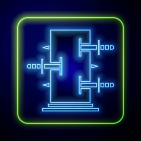 Glowing neon Magic box, trunk for magic tricks icon isolated on blue background. Show with knives, piercing the box with swords. Vector Illustration