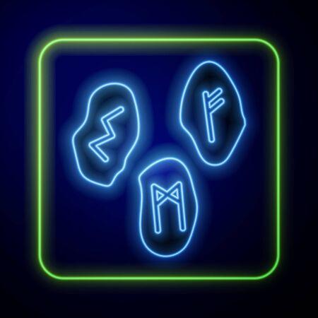 Glowing neon Magic runes icon isolated on blue background. Vector Illustration Иллюстрация