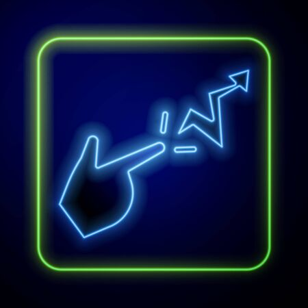 Glowing neon Spell icon isolated on blue background. The sorcerer hand performing spells. Vector Illustration