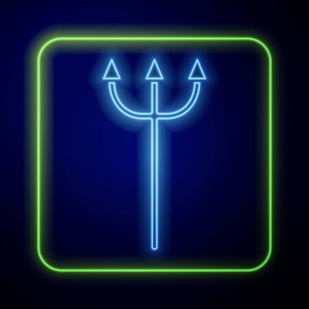 Glowing neon Neptune Trident icon isolated on blue background. Vector Illustration Иллюстрация