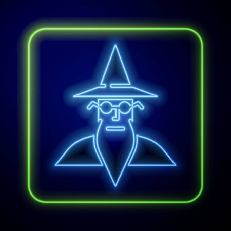 Glowing neon Wizard warlock icon isolated on blue background. Vector Illustration