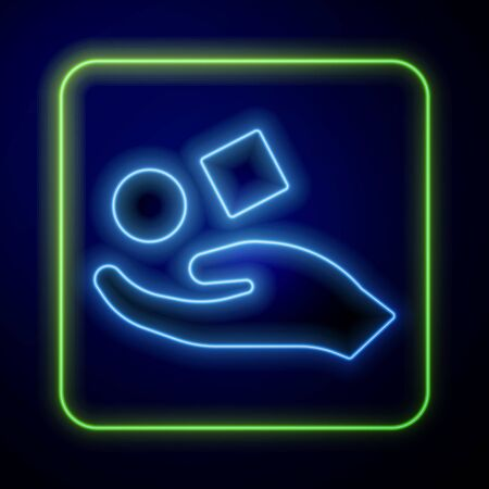 Glowing neon Cube levitating above hand icon isolated on blue background. Levitation symbol. Vector Illustration
