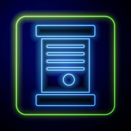Glowing neon Decree, paper, parchment, scroll icon icon isolated on blue background. Vector Illustration