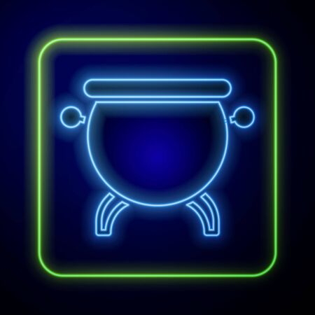Glowing neon Witch cauldron icon isolated on blue background. Happy Halloween party. Vector Illustration Иллюстрация